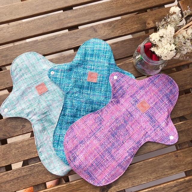 多い日でも安心。お尻までカバーしてくれる布ナプキンロングタイプ1枚。 ギンガムチェック×オーガニックリネン