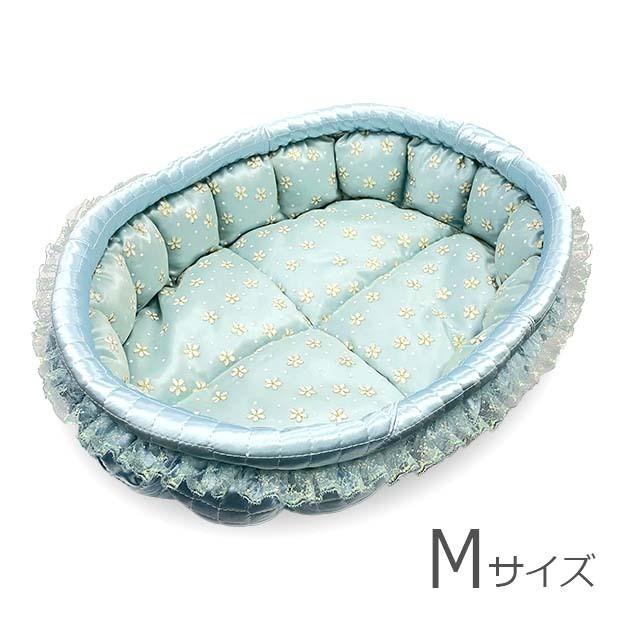 ふーじこちゃんママ手作り ぽんぽんベッド (サテンライトブルー・浴衣地 夏のお祭り柄)Mサイズ 【PB7-093M】