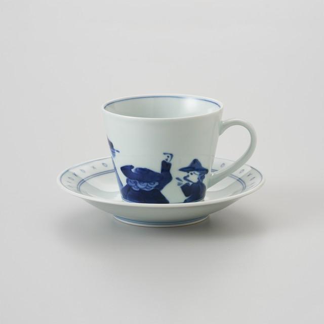 【青花】異人群 ソバ型コーヒー碗皿