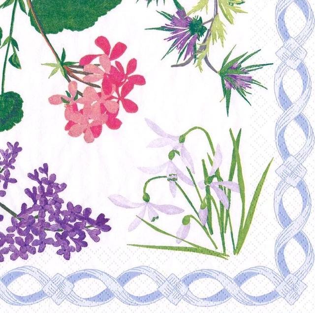 2021春夏【Caspari】バラ売り1枚 ランチサイズ ペーパーナプキン Mary Delany Flower Mosaics ホワイト