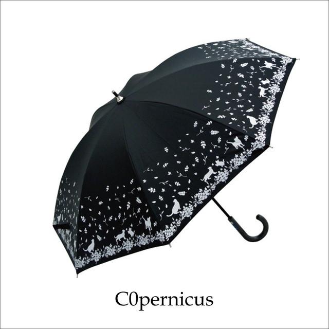 ネコモチーフ47㎝/晴雨兼用雨傘UVカット率99%/男女兼用傘 浜松雑貨屋 C0pernicus