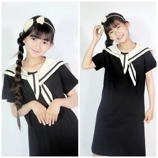110~170cm ★ セーラー 風 ワンピース 半袖 ドレス リボン