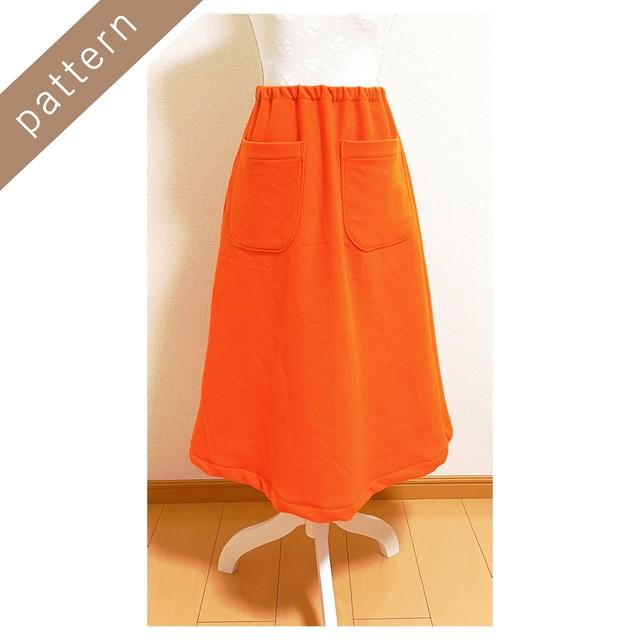 ポケット付き台形スカート型紙9号【DL版/レシピ付き】商用利用可能