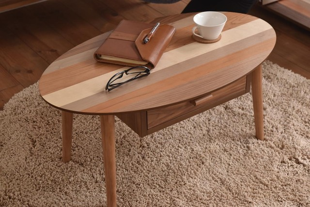 Oval / Nordic Low Drawer Table / 北欧ナチュラルスタイル オーバル / 北欧 引出しローテーブル
