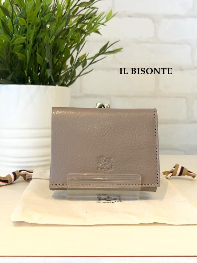 【2021SS新型】IL BISONTE/ガマ口三つ折り財布/04340(グレー)