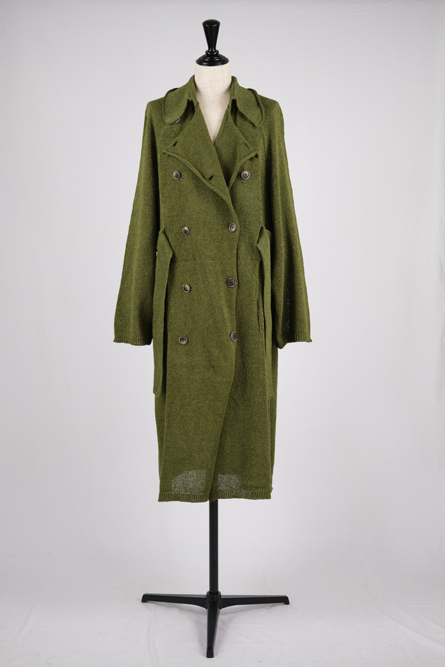 【kota gushiken】Knitted washi trench coat - dark green