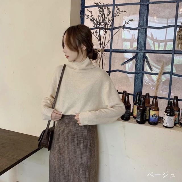 薄め ハイネック ニット トップス ロングTシャツ 5色 B2632