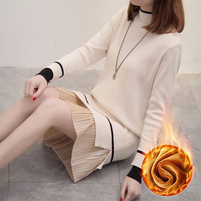 【dress】ニットワンピース配色簡約切り替えハイネック