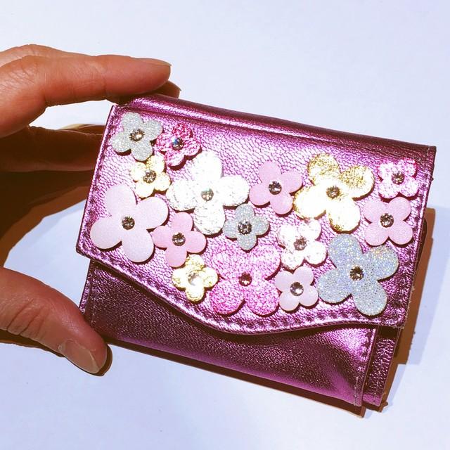 ✜ フラワーブーケ三つ折りミニ財布(ピンク) ✜(限定各1点)