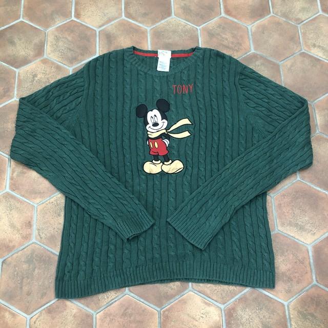 Disney ミッキー 刺繍ニット