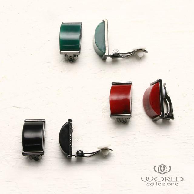【worcolle】長方形パーツのイヤリング(ブラック・レッド・グリーン)(No.131668-69-70)