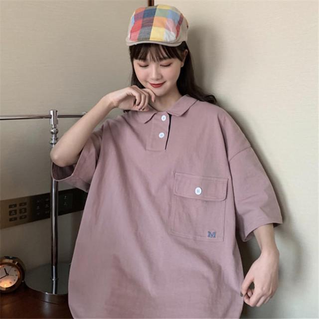 【送料無料】 ビッグシルエット♡ ゆるだぼ カジュアル メンズライク 胸ポケット 襟付き ポロシャツ トップス