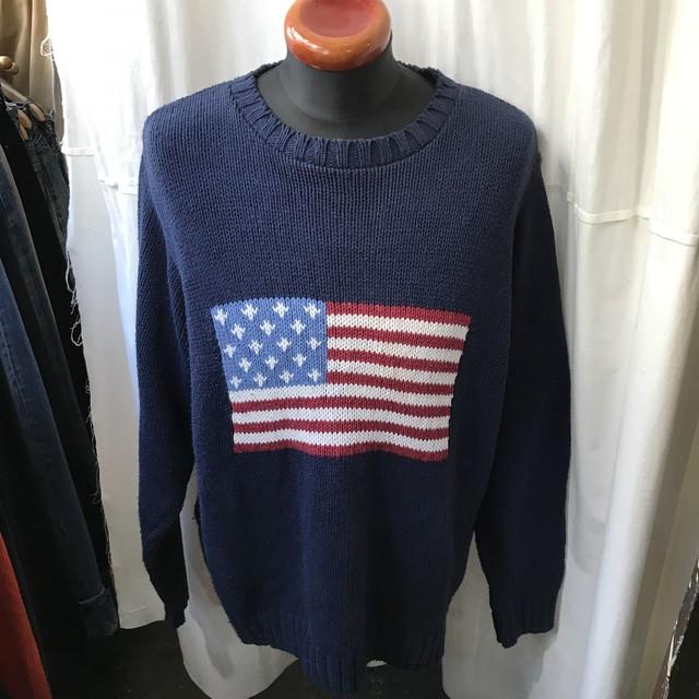USA製 Coldwater Creek 星条旗柄 コットンセーター アメリカ XL~XXL