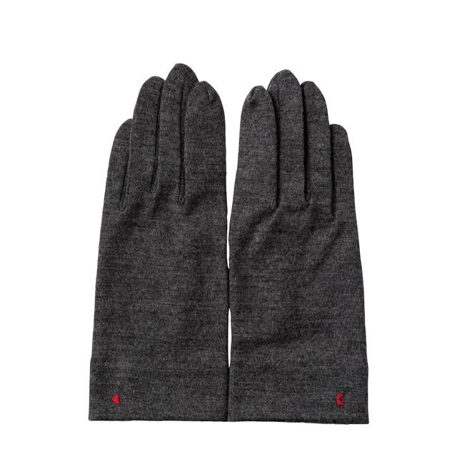 【手袋】123 杢グレー/ウール100%/手が細くキレイに見える