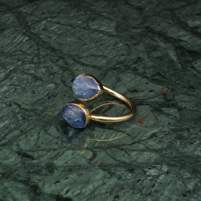 DOUBLE STONE OPEN RING GOLD 037