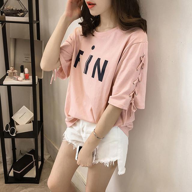 英字 プリント Tシャツ 編み上げ リボン デザイン 3色 B7157