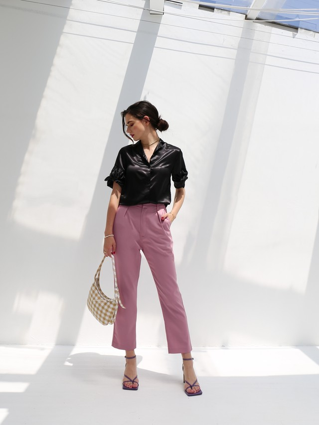 color tuck pants(pink)