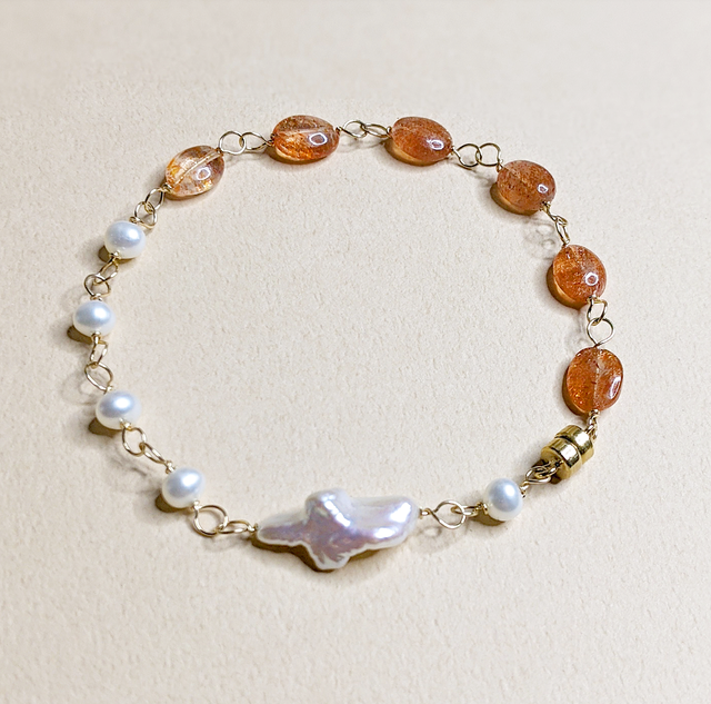 2 WAY Sunstone & Baroque Pearl bracelet | MIHO meets RUKUS