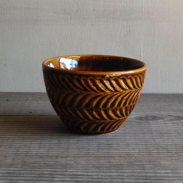 感器工房 波佐見焼 翔芳窯 ローズマリー ライスボウル 茶碗 約11cm ブラウン 333027