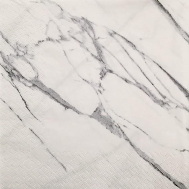 【ZARA HOME】バラ売り1枚 ランチサイズ ペーパーナプキン MARBLE ホワイト×グレー