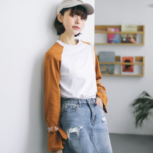 【tops】好感度UPスウィート長袖切り替えボウタイラウンドネック配色Tシャツ