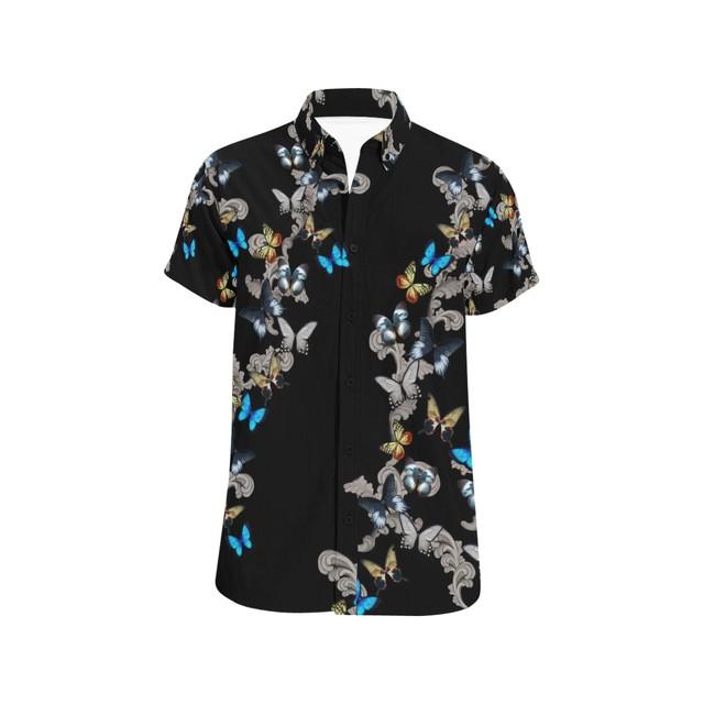 蝶装飾黒 ユニセックス半袖シャツ