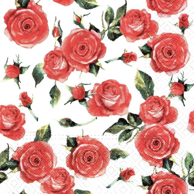 【TETE a TETE】バラ売り2枚 ランチサイズ ペーパーナプキン ROSY STYLE ホワイト