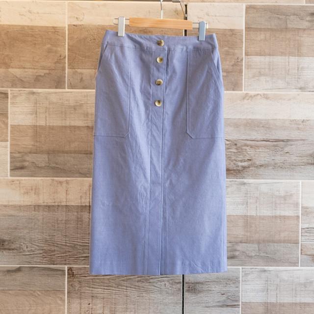 ハイストレッチボタンタイトスカート