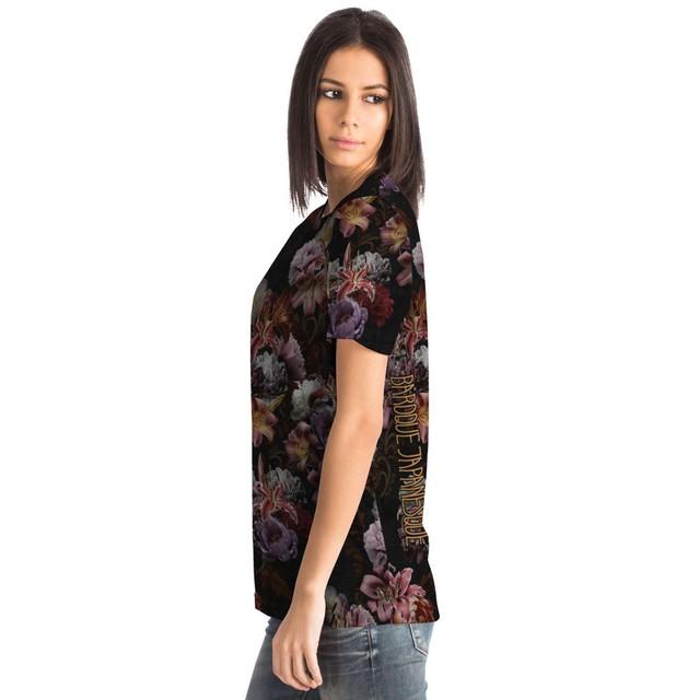 芍薬牡丹百合 黒 ユニセックスTシャツ