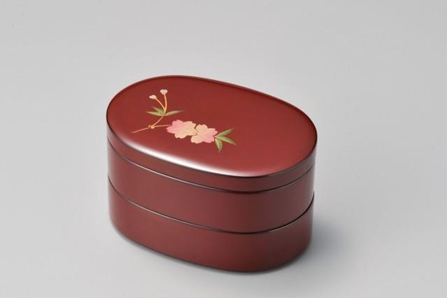 越前塗 桜 小判弁当 古代朱内黒 1個