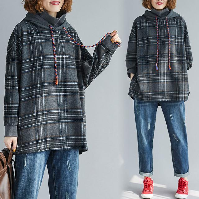 【tops】カジュアル長袖着痩せ配色合わせやすいフード付き大きいサイズチェック柄パーカー