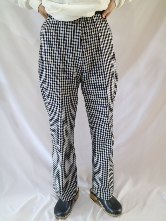 plaid pattern flare easy pants【1264】