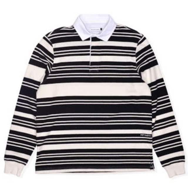 POP TRADING COMPANY RUGBY SHIRT OFF WHITE/BLACK