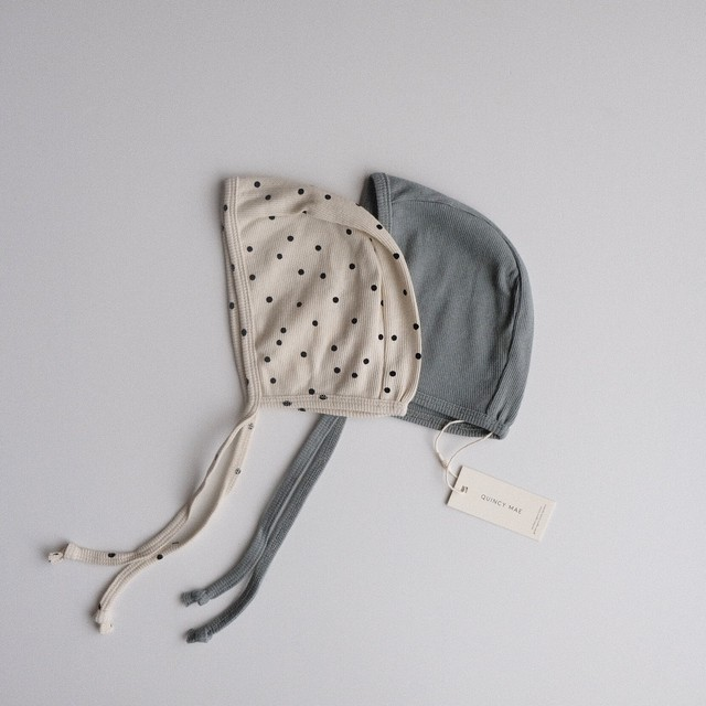 QUINCY MAE Ribbed Baby Bonnet(全2色/3-6m,6-12m,12-24m)