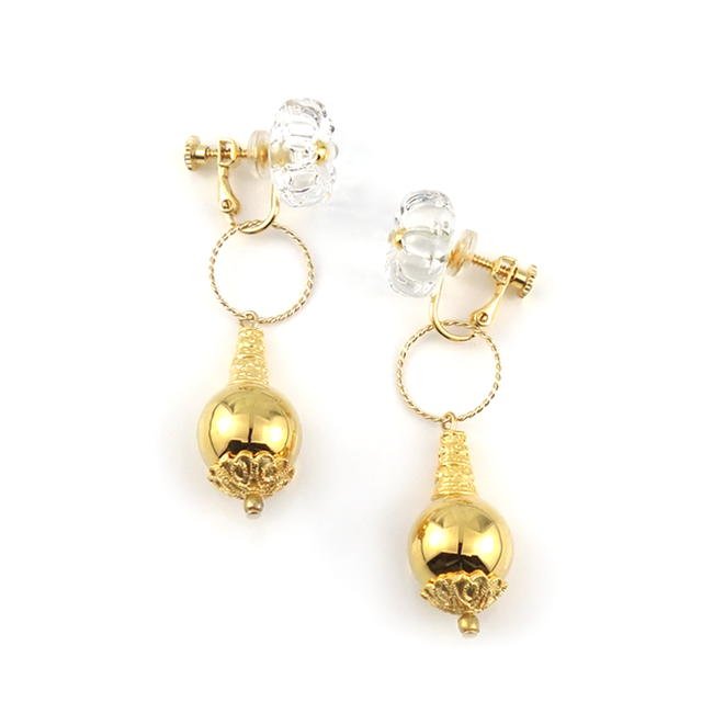 "【2way】 flower glass_earrings ""pure ice"" a003"