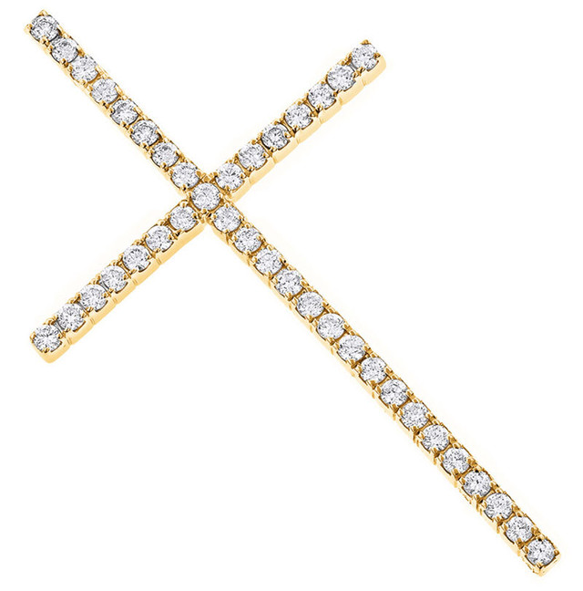 1CT LARGE DIAMOND GOLD CROSS PENDANT