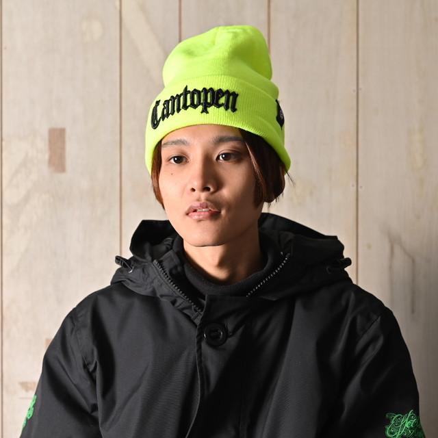 2018 RAKUGAKI Cantopen Logo Knit Cap Neon Yellow x Black