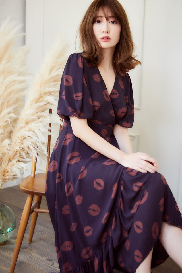 Lip-print Wrap Dress