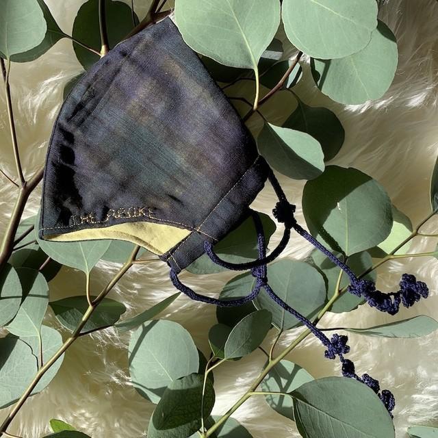 Botanical マスク&ハンドバームギフト Tartan Nuts (外側タータンチェック・内側グリーン・紐ネイビー)