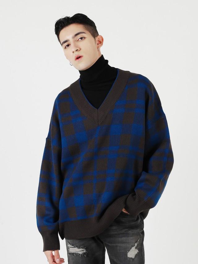 【即日出荷】チェックVニットセーター
