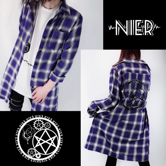 チェック柄PURPLE LONG COTTON SHIRT