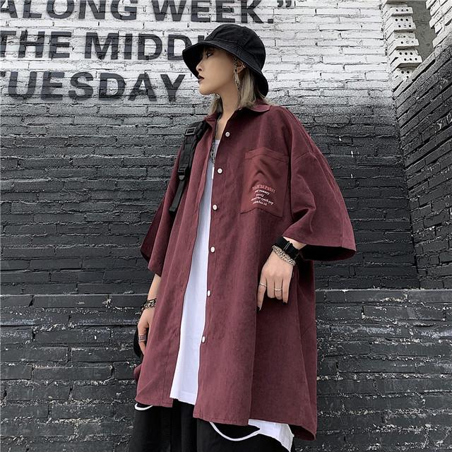 【トップス】ストリート系カジュアル無地ファッションペアルックシャツ32679915
