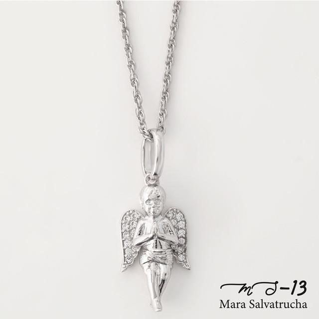 【MS-13】K18WGGP エンジェル チャーム S チェーンセット(ホワイトゴールド)
