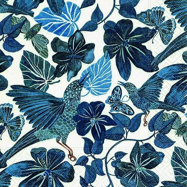 【Paper+Design】バラ売り2枚 ランチサイズ ペーパーナプキン JUNGLE DANCE ブルー
