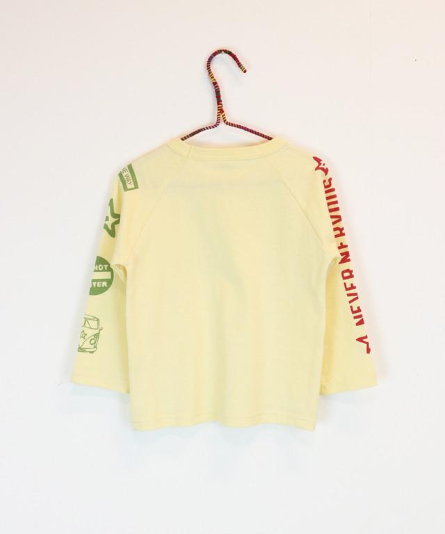 袖プリントラグランロングTシャツ