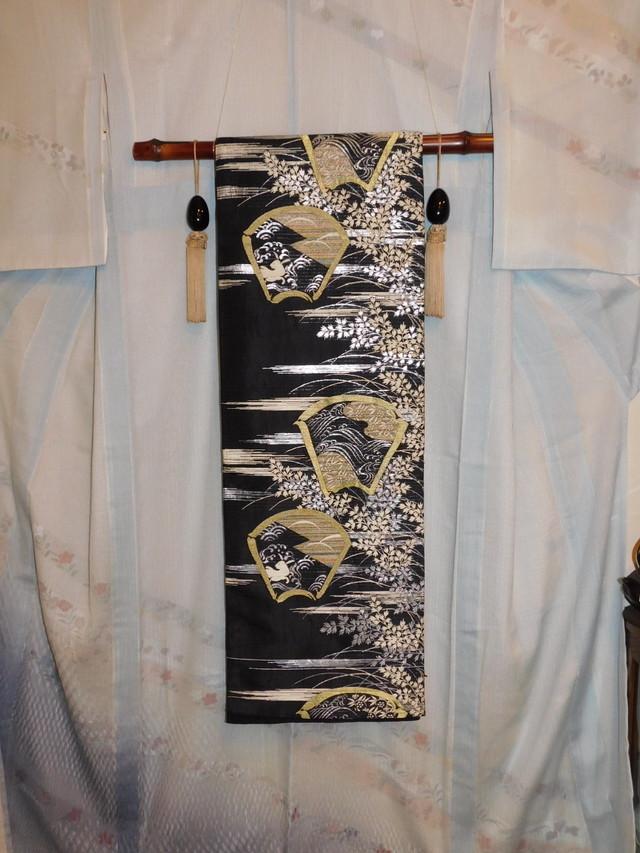 黒錦紗着物 silk Kimono