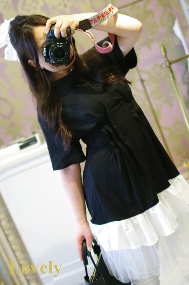 【トップス】タック入り 裾チュール Tシャツ・ブラック