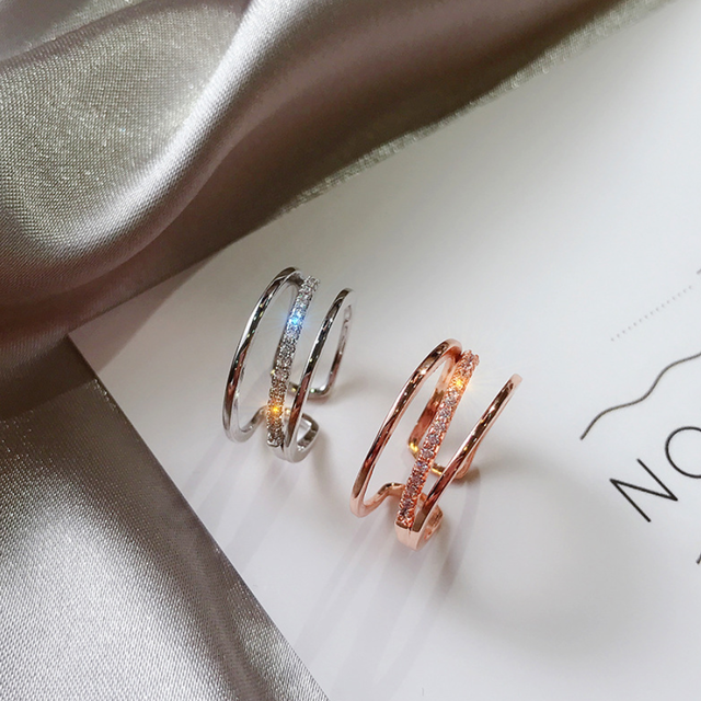 「order」spiral zircon ring rose gold/silver r040