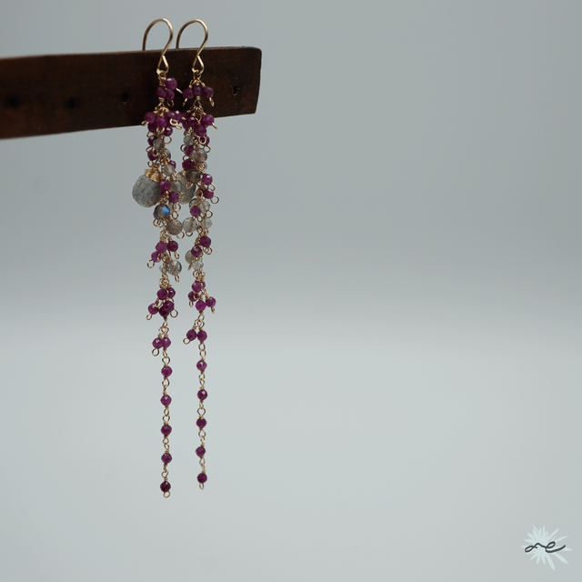 Ruby × Labradorite Cluster Earrings/14KGF