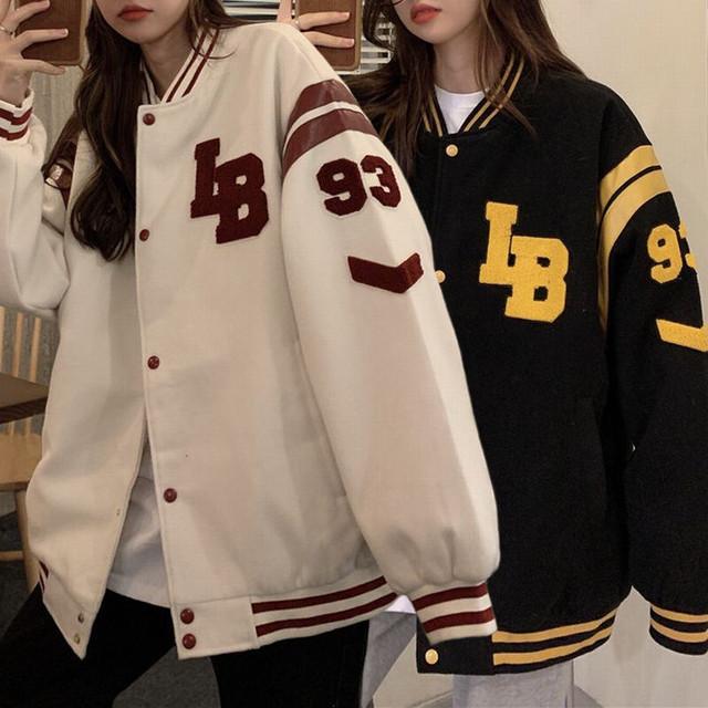 スタジャン スタジアムジャンパー ブルゾン ロゴ オーバーサイズ 韓国ファッション レディース ジャンパー アウター 大きいサイズ カジュアル ストリート系 / Baseball uniform vintage thick jacket (DTC-638038136633)
